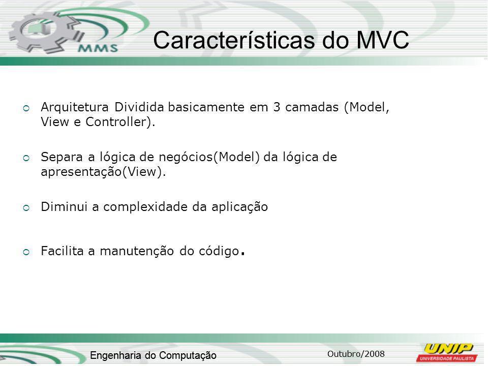 Outubro/2008 Engenharia do Computação Características do MVC Arquitetura Dividida basicamente em 3 camadas (Model, View e Controller).
