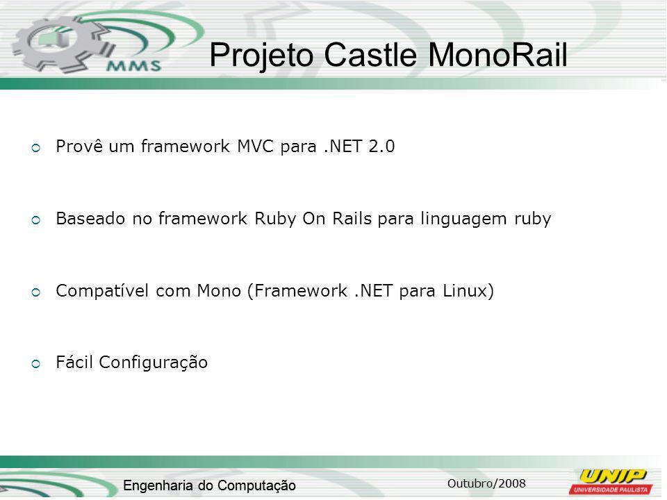 Outubro/2008 Engenharia do Computação Projeto Castle MonoRail Provê um framework MVC para.NET 2.0 Baseado no framework Ruby On Rails para linguagem ruby Compatível com Mono (Framework.NET para Linux) Fácil Configuração Outubro/2008 Engenharia do Computação