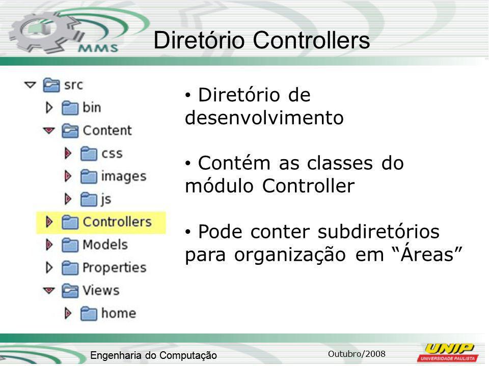 Outubro/2008 Engenharia do Computação Diretório Controllers Outubro/2008 Engenharia do Computação Diretório de desenvolvimento Contém as classes do módulo Controller Pode conter subdiretórios para organização em Áreas