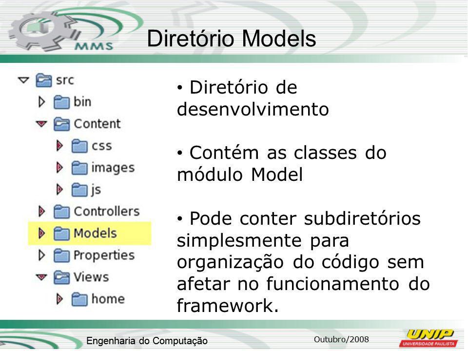 Outubro/2008 Engenharia do Computação Diretório Models Outubro/2008 Engenharia do Computação Diretório de desenvolvimento Contém as classes do módulo Model Pode conter subdiretórios simplesmente para organização do código sem afetar no funcionamento do framework.