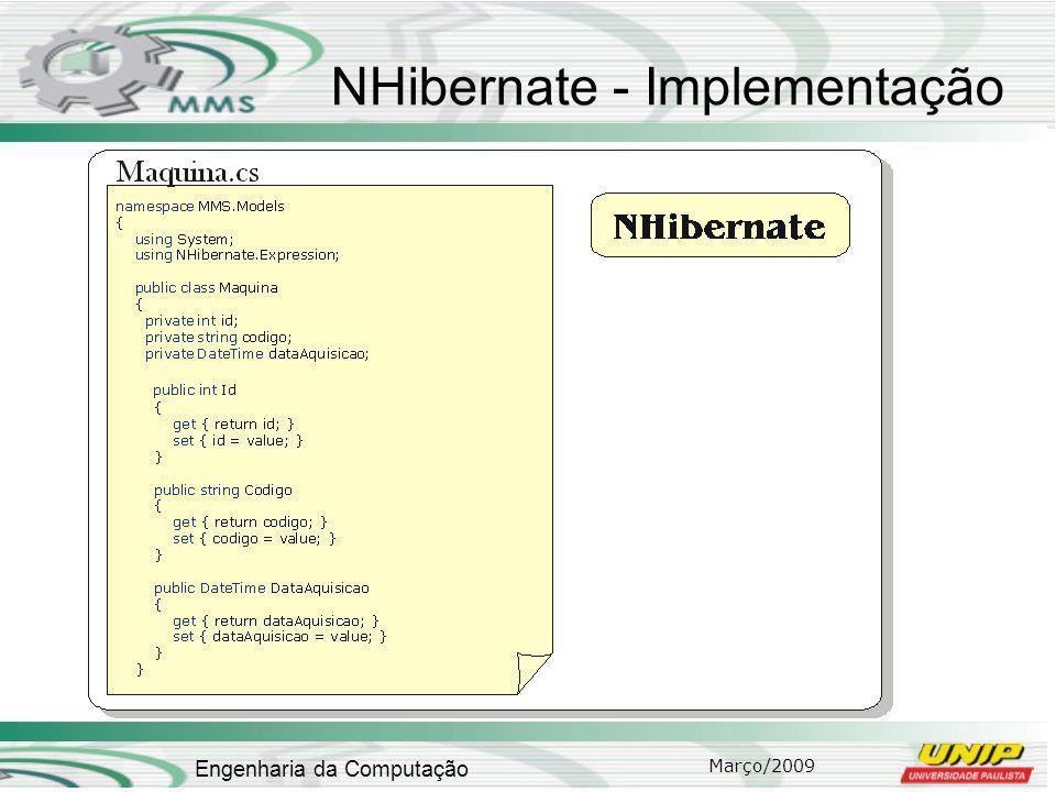 Março/2009 Engenharia da Computação NHibernate - Implementação