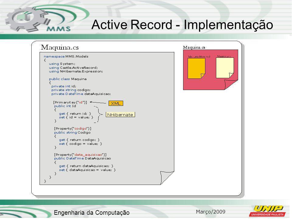 Março/2009 Engenharia da Computação Active Record - Implementação
