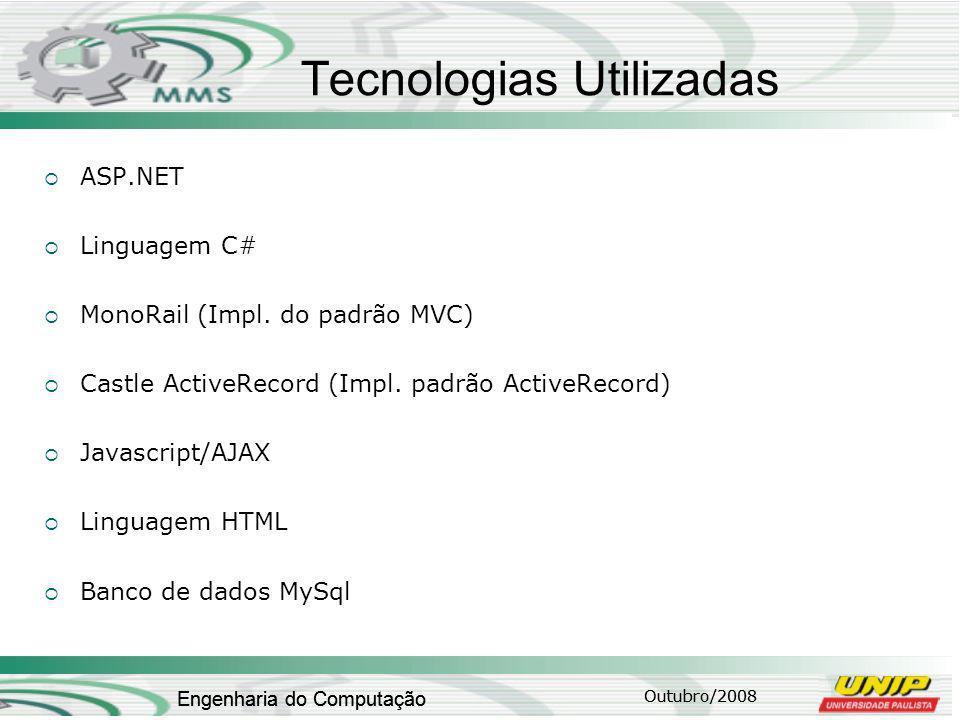 Outubro/2008 Engenharia do Computação Tecnologias Utilizadas ASP.NET Linguagem C# MonoRail (Impl.