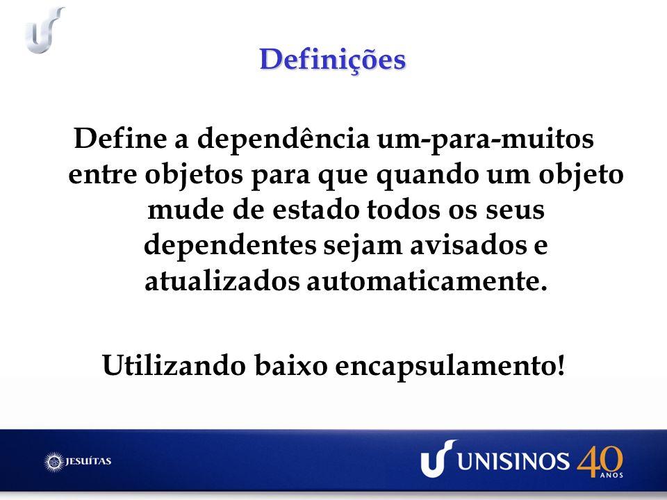 Definições Define a dependência um-para-muitos entre objetos para que quando um objeto mude de estado todos os seus dependentes sejam avisados e atualizados automaticamente.