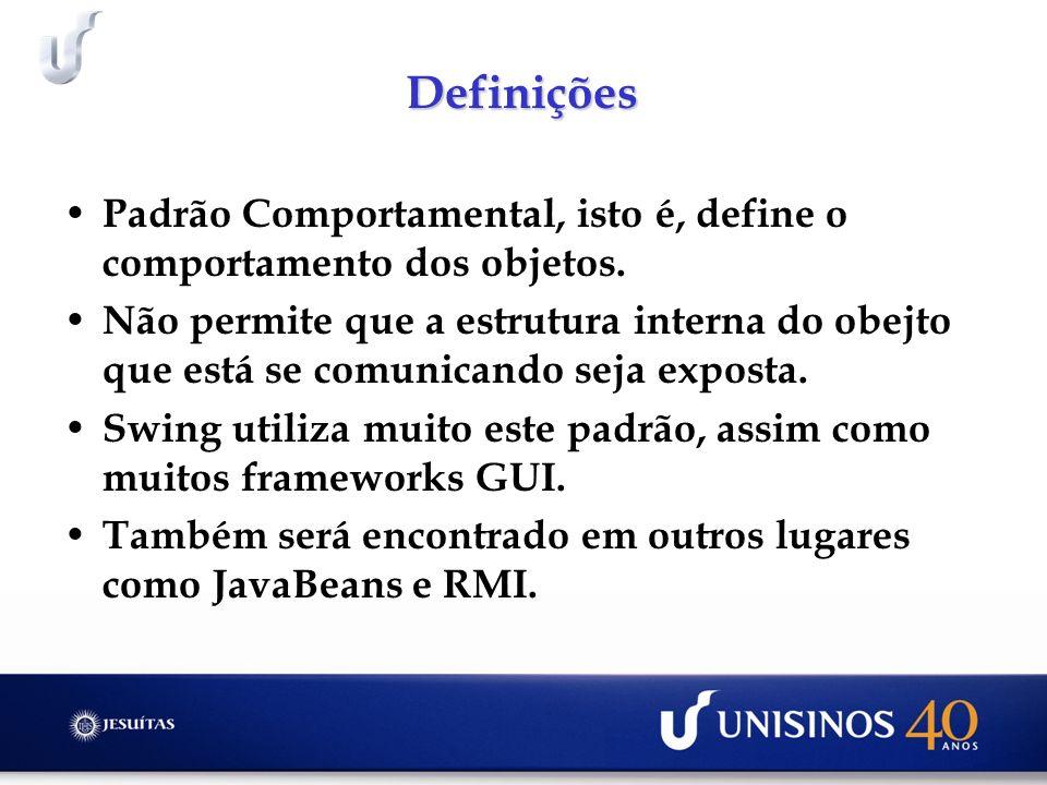 Definições Padrão Comportamental, isto é, define o comportamento dos objetos.