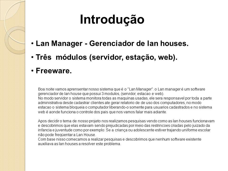Lan Manager - Gerenciador de lan houses. Três módulos (servidor, estação, web). Freeware. Introdução Boa noite vamos aprensentar nosso sistema que é o