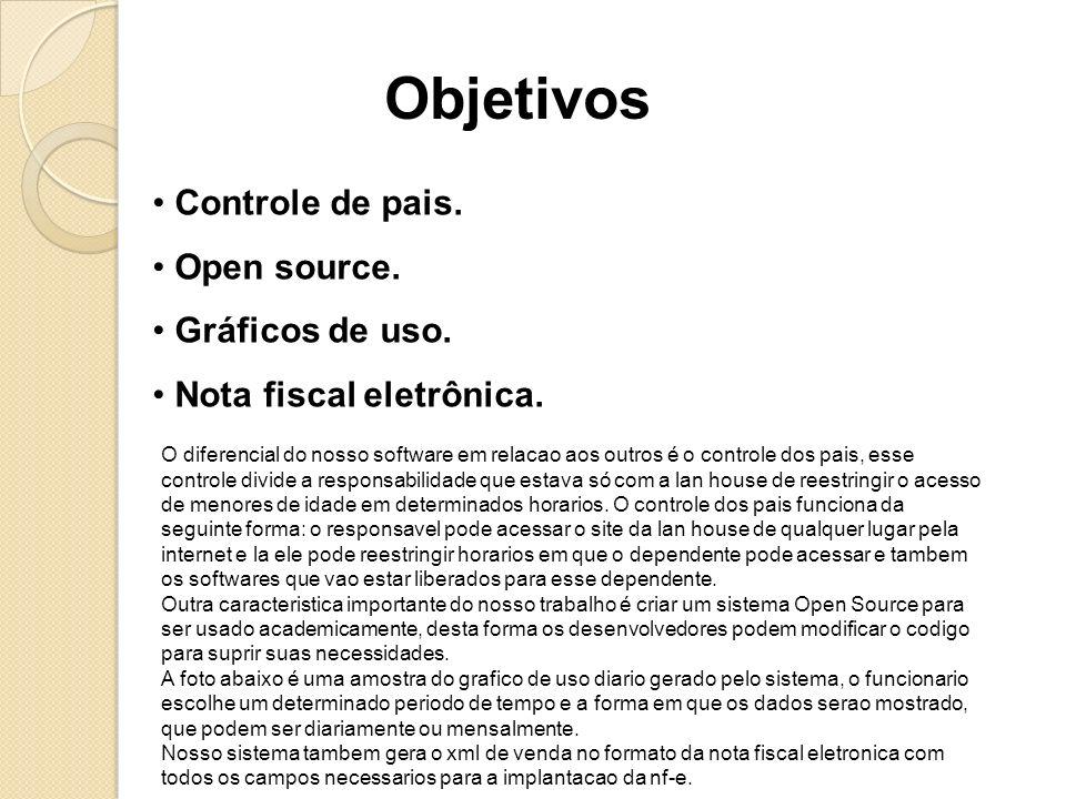 Objetivos Controle de pais. Open source. Gráficos de uso. Nota fiscal eletrônica. O diferencial do nosso software em relacao aos outros é o controle d