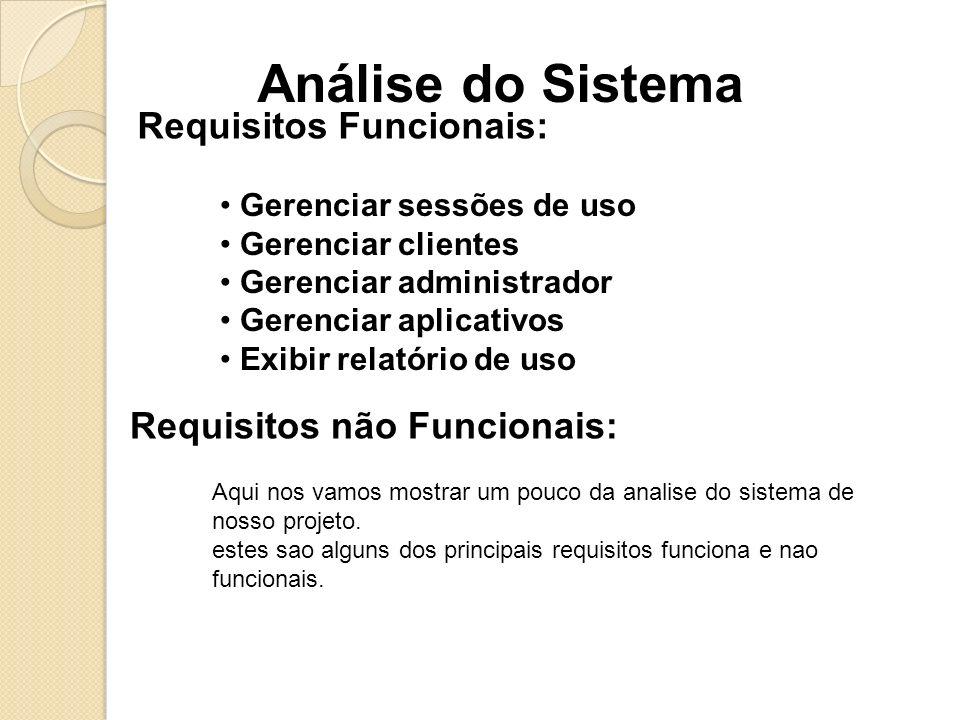 Análise do Sistema Requisitos Funcionais: Gerenciar sessões de uso Gerenciar clientes Gerenciar administrador Gerenciar aplicativos Exibir relatório d