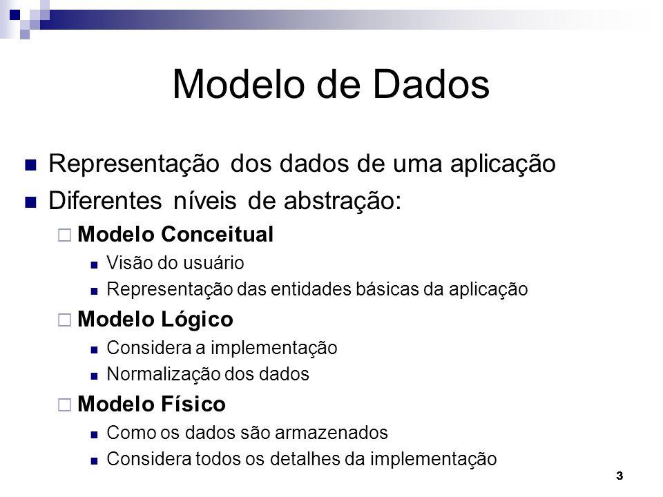 3 Modelo de Dados Representação dos dados de uma aplicação Diferentes níveis de abstração: Modelo Conceitual Visão do usuário Representação das entidades básicas da aplicação Modelo Lógico Considera a implementação Normalização dos dados Modelo Físico Como os dados são armazenados Considera todos os detalhes da implementação