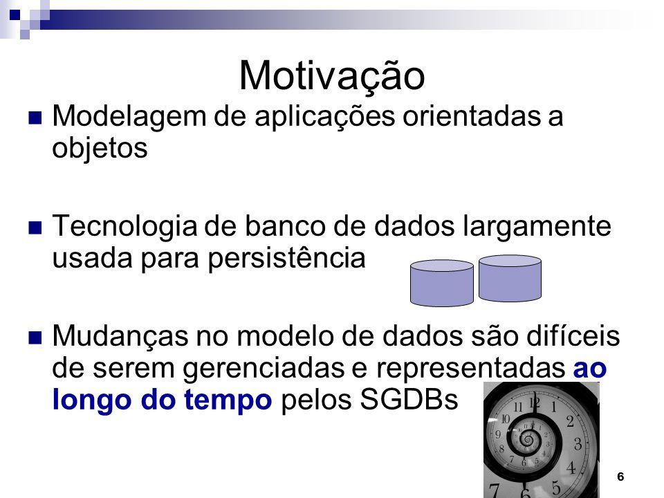 6 Motivação Modelagem de aplicações orientadas a objetos Tecnologia de banco de dados largamente usada para persistência Mudanças no modelo de dados s