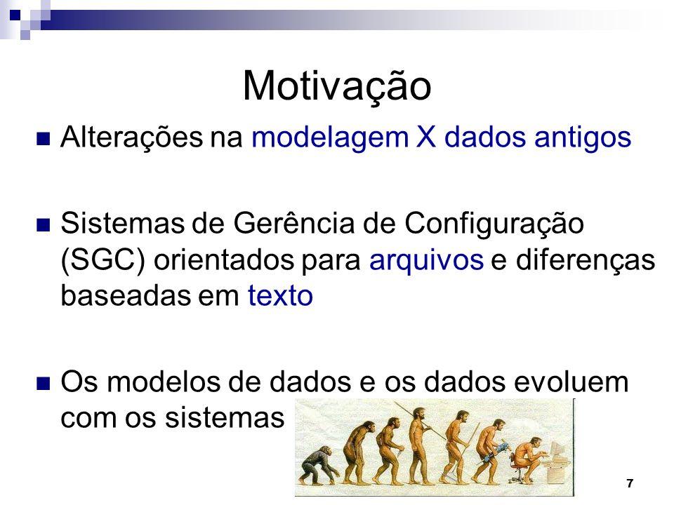 7 Motivação Alterações na modelagem X dados antigos Sistemas de Gerência de Configuração (SGC) orientados para arquivos e diferenças baseadas em texto Os modelos de dados e os dados evoluem com os sistemas