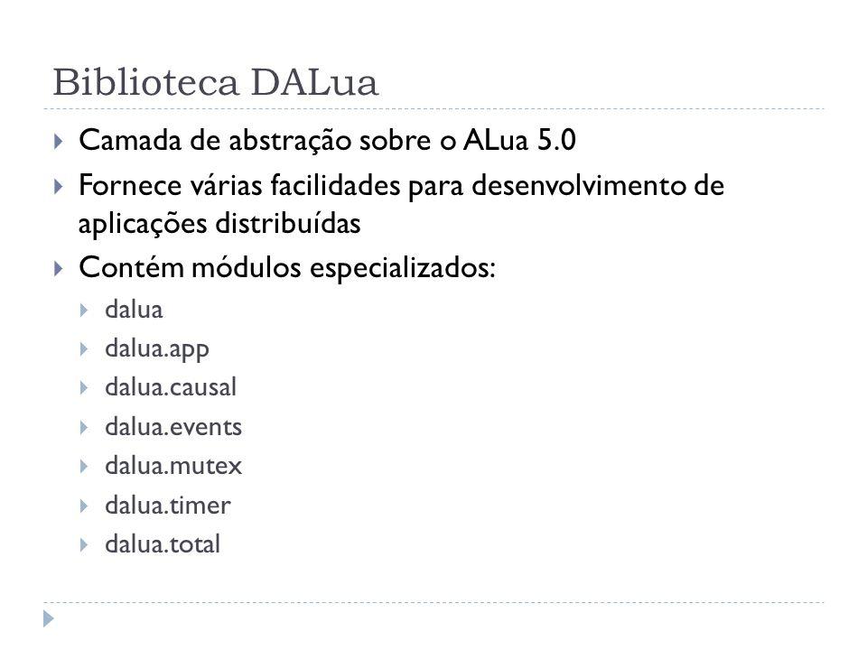 Biblioteca DALua Camada de abstração sobre o ALua 5.0 Fornece várias facilidades para desenvolvimento de aplicações distribuídas Contém módulos especializados: dalua dalua.app dalua.causal dalua.events dalua.mutex dalua.timer dalua.total