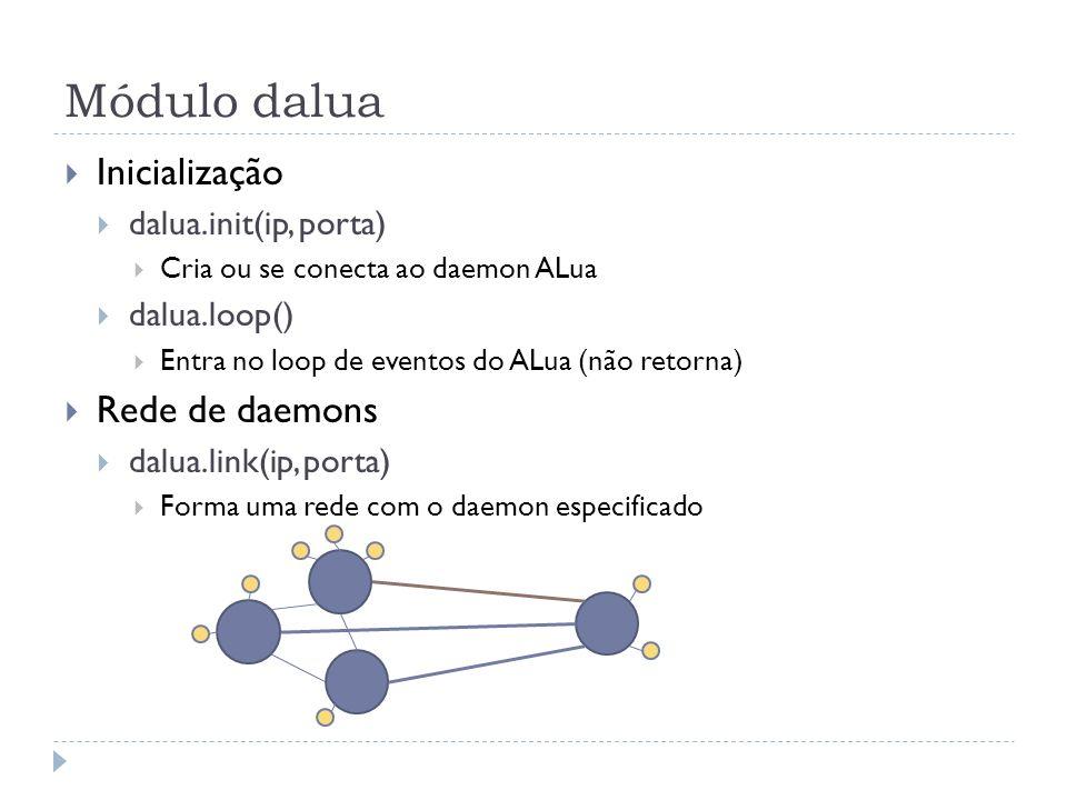 Módulo dalua Envio de mensagens dalua.send(dest_procs, nome_func, arg1, arg2,...) Cada mensagem é uma chamada de função remota dest_procs pode ser um ou mais identificadores de processo Argumentos podem ser number, string, boolean ou table dalua.self() Obtém o identificador do processo corrente Exemplo require(dalua) dalua.init(127.0.0.1, 4321) dalua.send(dalua.self(), print, hello world!) dalua.loop()