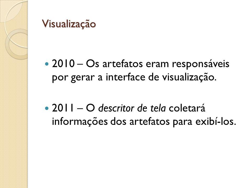 Visualização 2010 – Os artefatos eram responsáveis por gerar a interface de visualização. 2011 – O descritor de tela coletará informações dos artefato