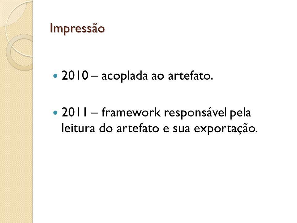 Impressão 2010 – acoplada ao artefato. 2011 – framework responsável pela leitura do artefato e sua exportação.