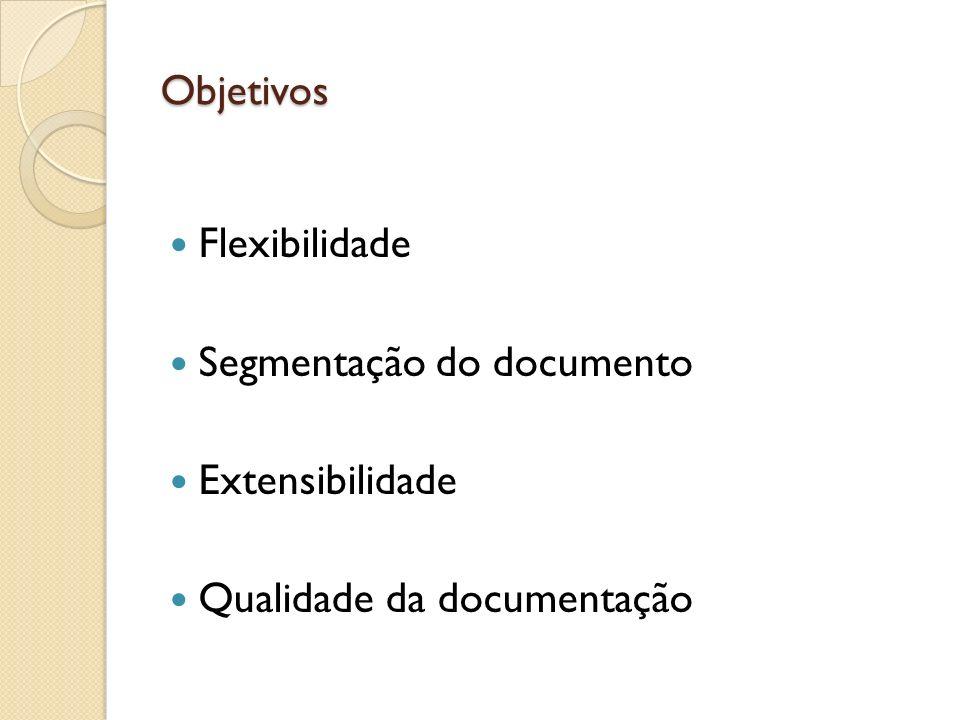 Objetivos Flexibilidade Segmentação do documento Extensibilidade Qualidade da documentação