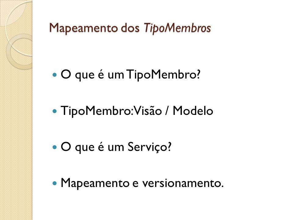 Mapeamento dos TipoMembros O que é um TipoMembro? TipoMembro: Visão / Modelo O que é um Serviço? Mapeamento e versionamento.