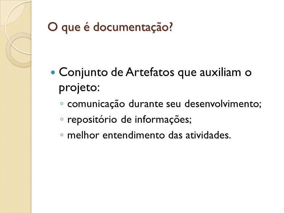 O que é documentação? Conjunto de Artefatos que auxiliam o projeto: comunicação durante seu desenvolvimento; repositório de informações; melhor entend