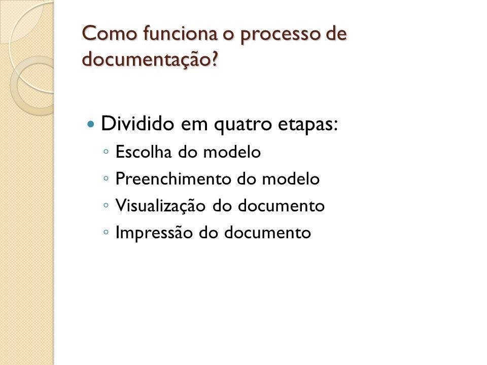 Como funciona o processo de documentação? Dividido em quatro etapas: Escolha do modelo Preenchimento do modelo Visualização do documento Impressão do