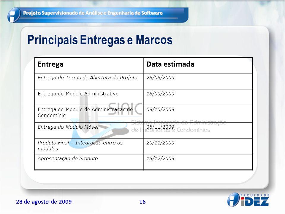 Projeto Supervisionado de Análise e Engenharia de Software 28 de agosto de 200916 Principais Entregas e Marcos EntregaData estimada Entrega do Termo d