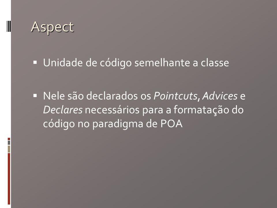 Aspect Unidade de código semelhante a classe Nele são declarados os Pointcuts, Advices e Declares necessários para a formatação do código no paradigma de POA