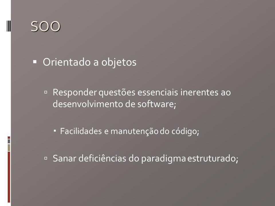 SOO Orientado a objetos Responder questões essenciais inerentes ao desenvolvimento de software; Facilidades e manutenção do código; Sanar deficiências do paradigma estruturado;