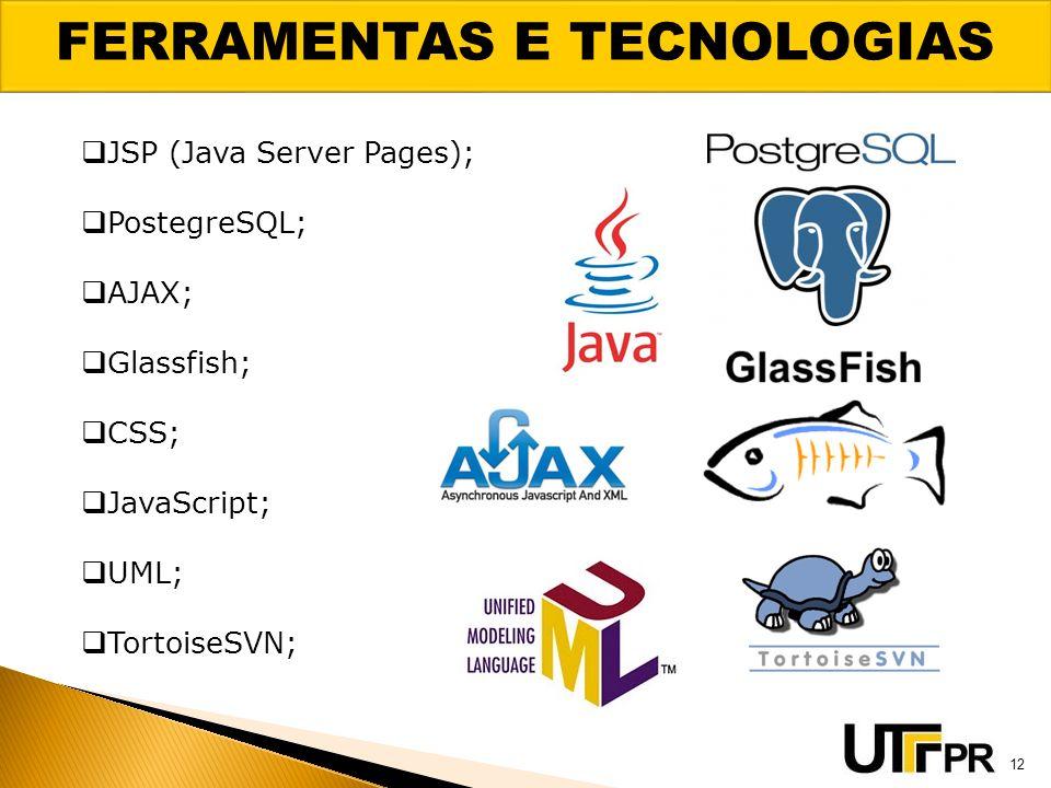 FERRAMENTAS E TECNOLOGIAS 12 JSP (Java Server Pages); PostegreSQL; AJAX; Glassfish; CSS; JavaScript; UML; TortoiseSVN;