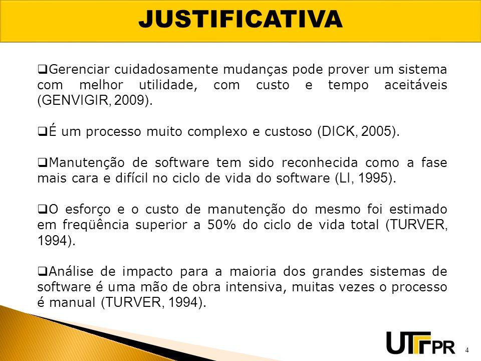 JUSTIFICATIVA Gerenciar cuidadosamente mudanças pode prover um sistema com melhor utilidade, com custo e tempo aceitáveis (GENVIGIR, 2009).