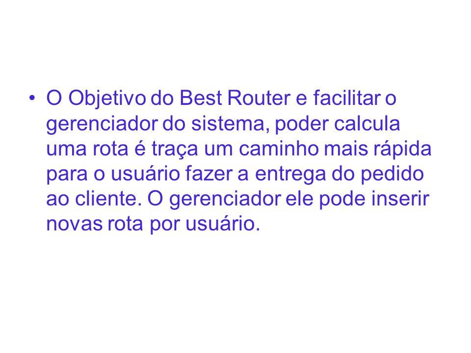 O Objetivo do Best Router e facilitar o gerenciador do sistema, poder calcula uma rota é traça um caminho mais rápida para o usuário fazer a entrega d