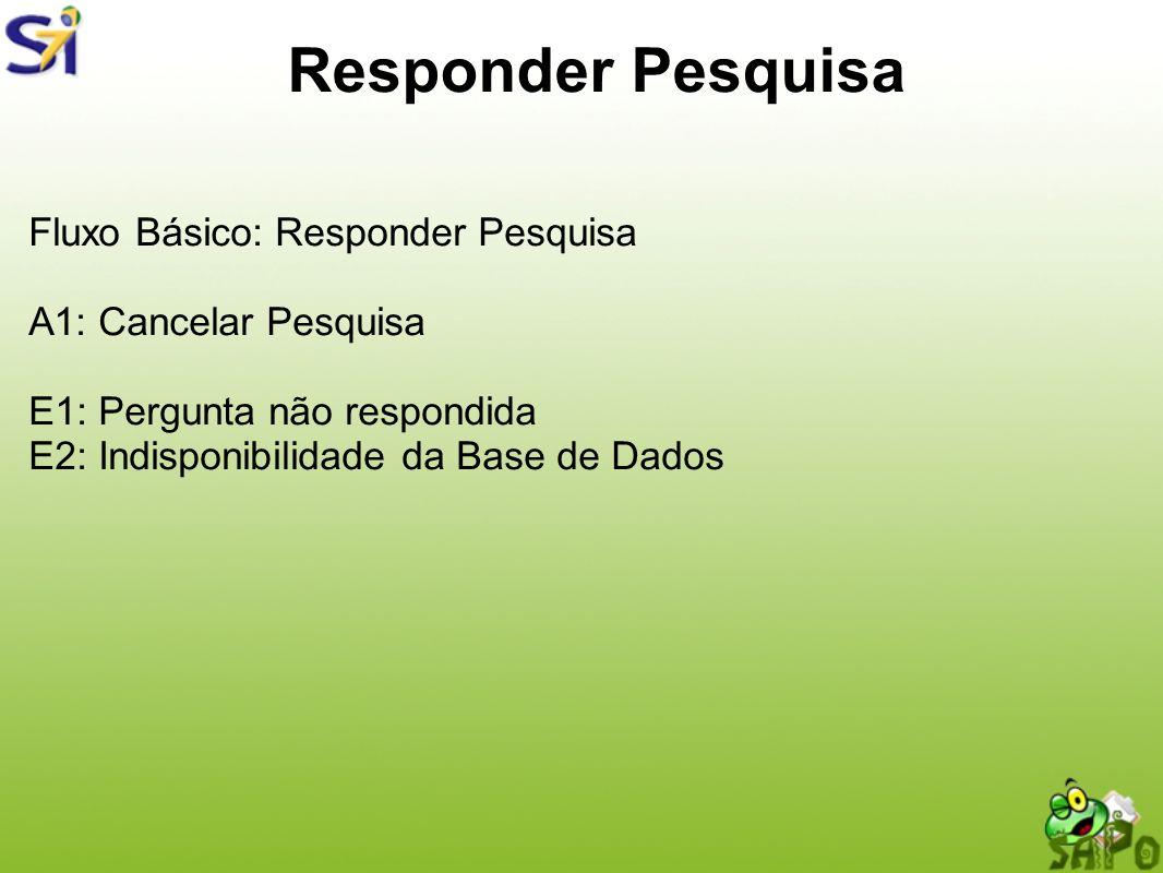 Responder Pesquisa Fluxo Básico: Responder Pesquisa A1: Cancelar Pesquisa E1: Pergunta não respondida E2: Indisponibilidade da Base de Dados