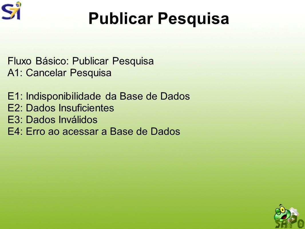 Publicar Pesquisa Fluxo Básico: Publicar Pesquisa A1: Cancelar Pesquisa E1: Indisponibilidade da Base de Dados E2: Dados Insuficientes E3: Dados Invál