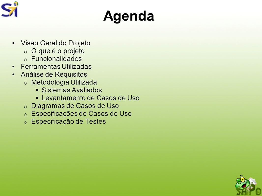 Agenda Visão Geral do Projeto o O que é o projeto o Funcionalidades Ferramentas Utilizadas Análise de Requisitos o Metodologia Utilizada Sistemas Aval