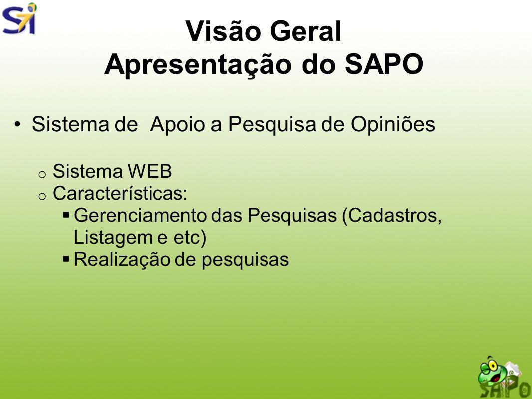 Visão Geral Apresentação do SAPO Sistema de Apoio a Pesquisa de Opiniões o Sistema WEB o Características: Gerenciamento das Pesquisas (Cadastros, List