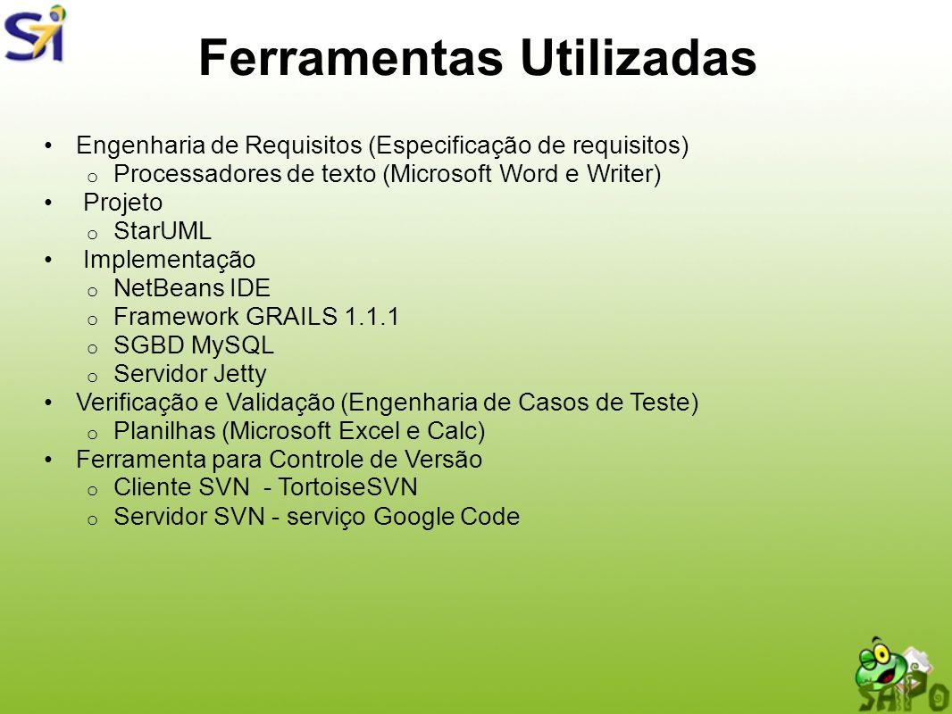 Ferramentas Utilizadas Engenharia de Requisitos (Especificação de requisitos) o Processadores de texto (Microsoft Word e Writer) Projeto o StarUML Imp