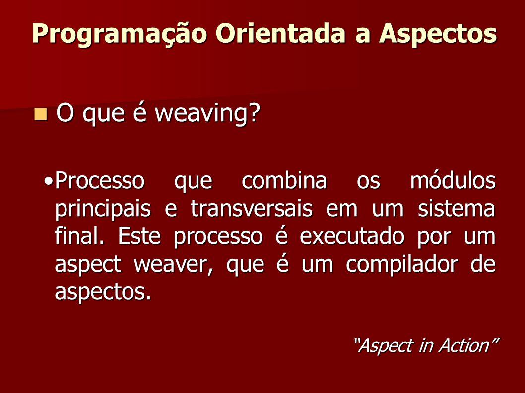 O que é weaving? O que é weaving? Processo que combina os módulos principais e transversais em um sistema final. Este processo é executado por um aspe