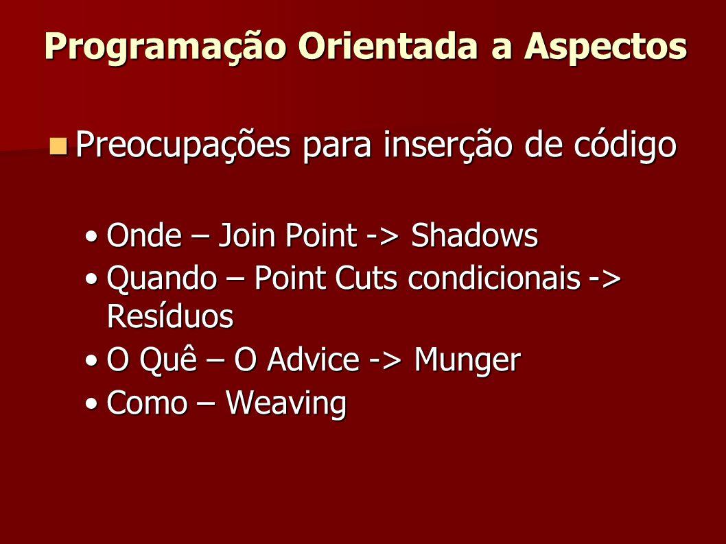 Preocupações para inserção de código Preocupações para inserção de código Onde – Join Point -> ShadowsOnde – Join Point -> Shadows Quando – Point Cuts