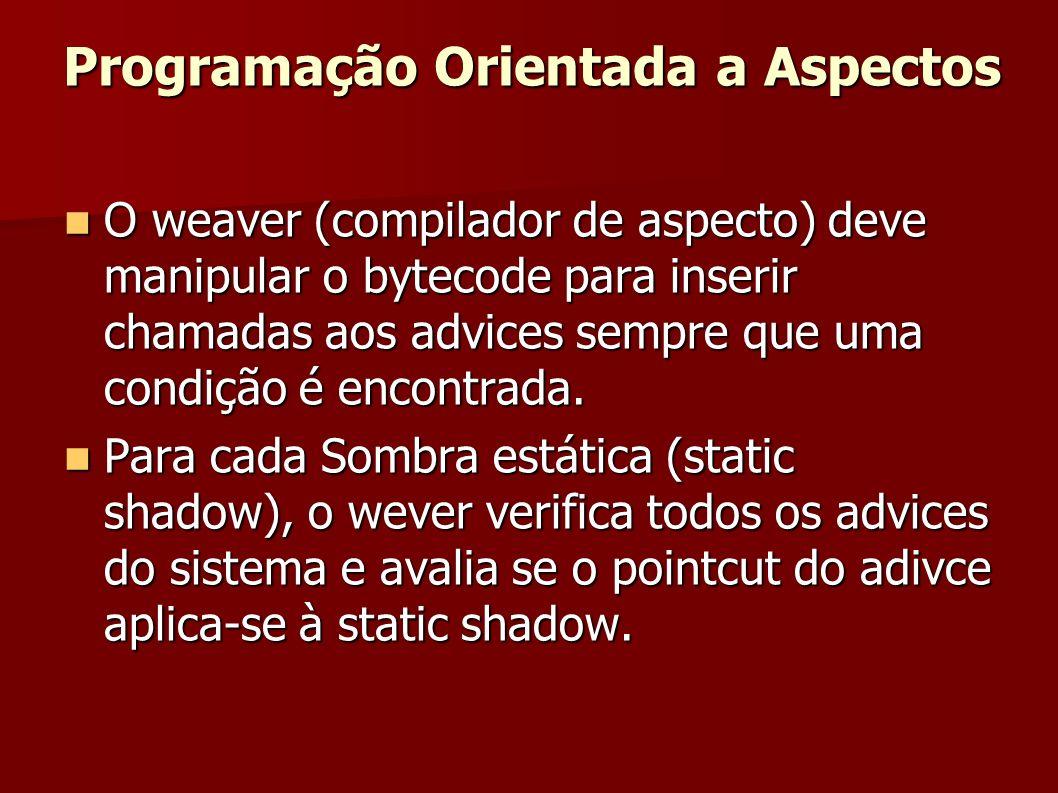 O weaver (compilador de aspecto) deve manipular o bytecode para inserir chamadas aos advices sempre que uma condição é encontrada. O weaver (compilado