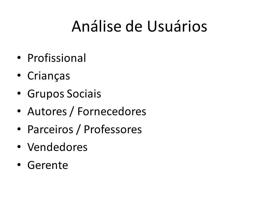 Análise de Usuários Profissional Crianças Grupos Sociais Autores / Fornecedores Parceiros / Professores Vendedores Gerente