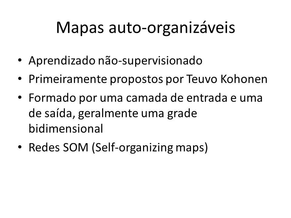 Mapas auto-organizáveis Aprendizado não-supervisionado Primeiramente propostos por Teuvo Kohonen Formado por uma camada de entrada e uma de saída, ger