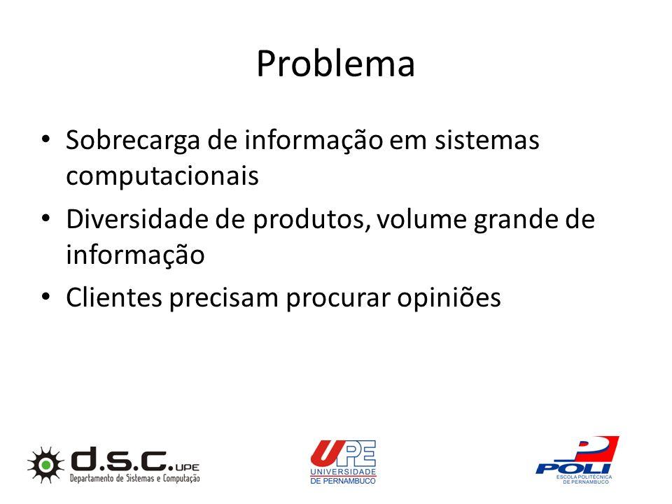 Problema Sobrecarga de informação em sistemas computacionais Diversidade de produtos, volume grande de informação Clientes precisam procurar opiniões