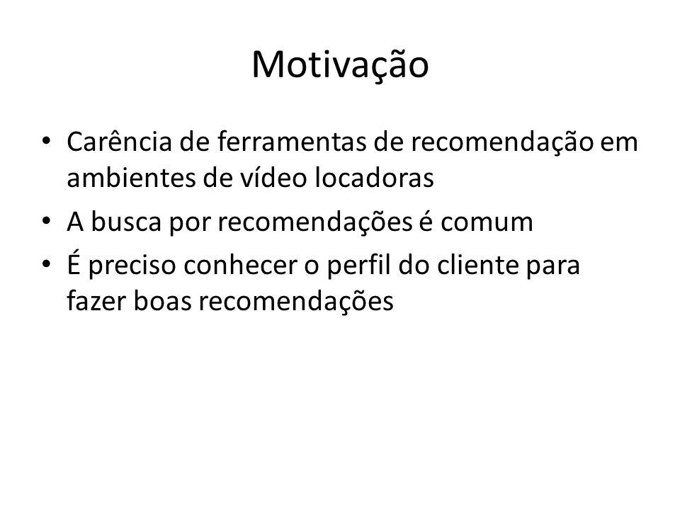 Motivação Carência de ferramentas de recomendação em ambientes de vídeo locadoras A busca por recomendações é comum É preciso conhecer o perfil do cli