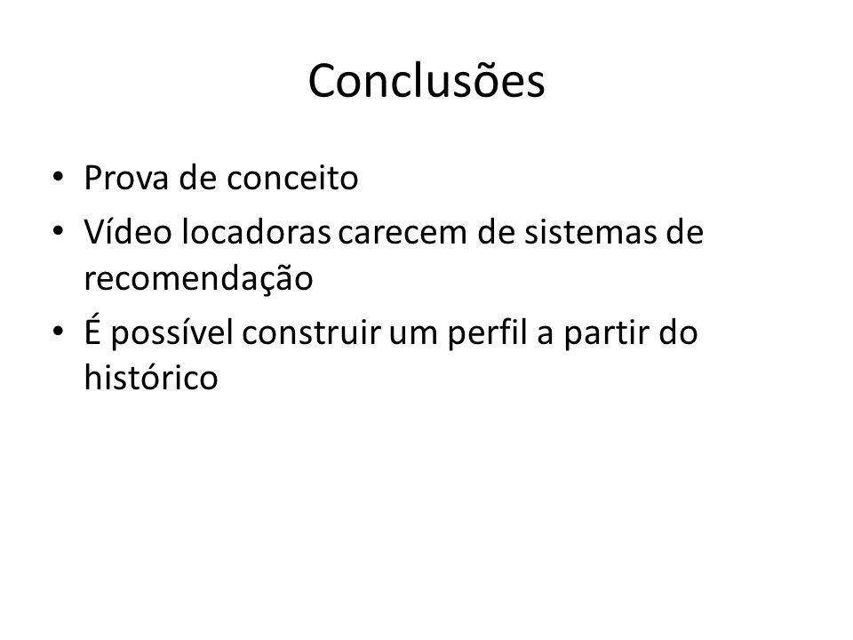 Conclusões Prova de conceito Vídeo locadoras carecem de sistemas de recomendação É possível construir um perfil a partir do histórico