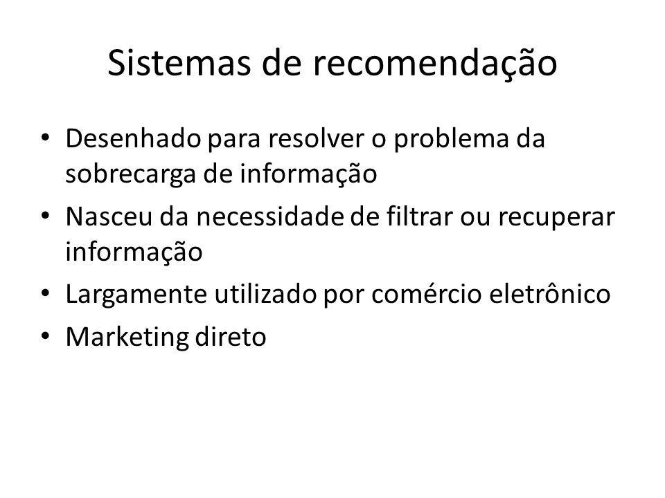 Sistemas de recomendação Desenhado para resolver o problema da sobrecarga de informação Nasceu da necessidade de filtrar ou recuperar informação Larga