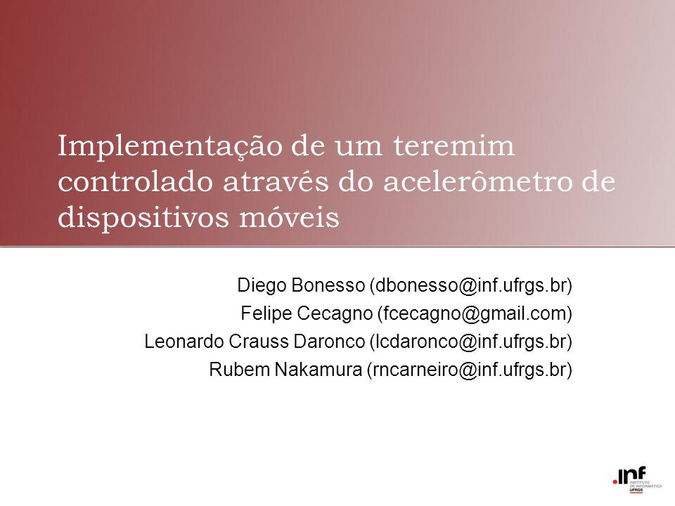 Implementação de um teremim controlado através do acelerômetro de dispositivos móveis Diego Bonesso (dbonesso@inf.ufrgs.br) Felipe Cecagno (fcecagno@gmail.com) Leonardo Crauss Daronco (lcdaronco@inf.ufrgs.br) Rubem Nakamura (rncarneiro@inf.ufrgs.br)