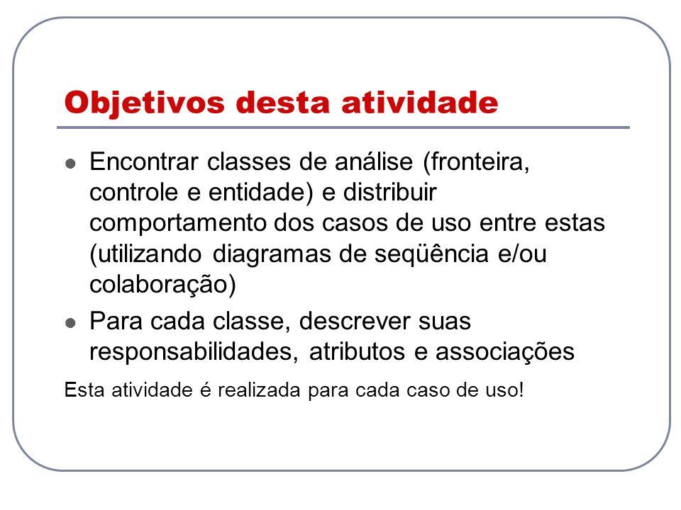 Objetivos desta atividade Encontrar classes de análise (fronteira, controle e entidade) e distribuir comportamento dos casos de uso entre estas (utili