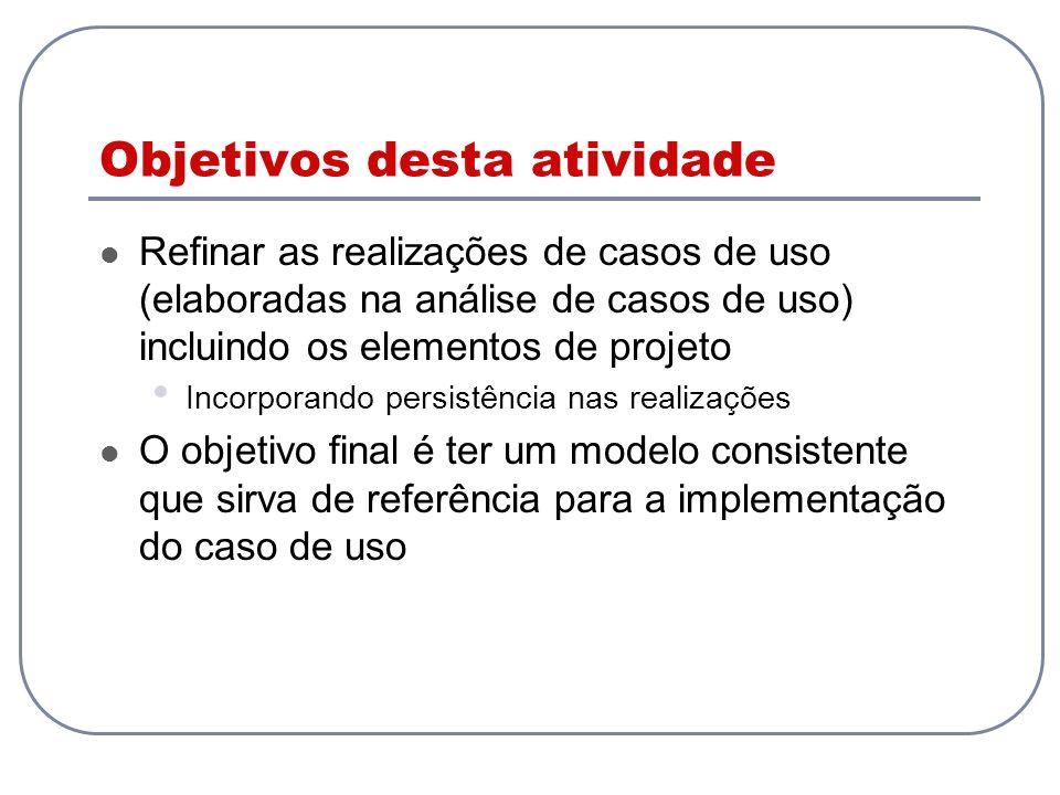 Objetivos desta atividade Refinar as realizações de casos de uso (elaboradas na análise de casos de uso) incluindo os elementos de projeto Incorporand