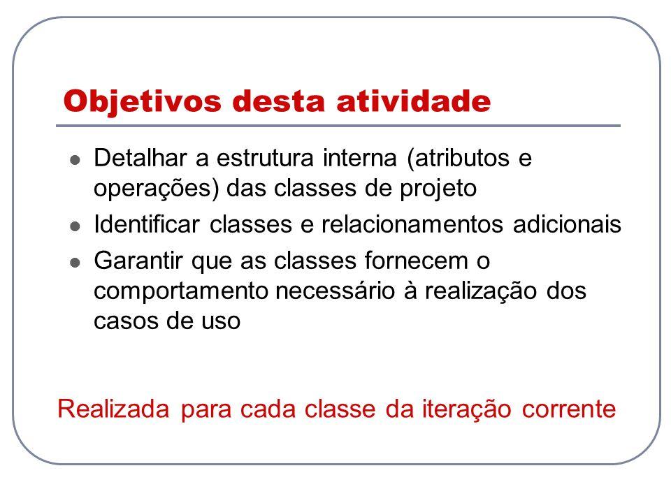 Objetivos desta atividade Detalhar a estrutura interna (atributos e operações) das classes de projeto Identificar classes e relacionamentos adicionais