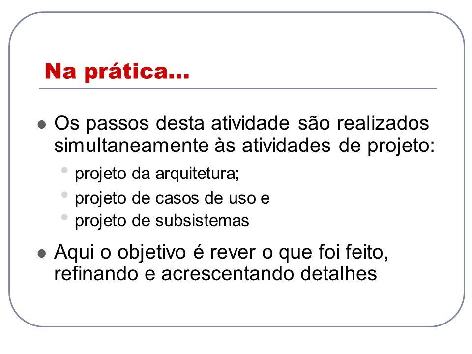 Na prática... Os passos desta atividade são realizados simultaneamente às atividades de projeto: projeto da arquitetura; projeto de casos de uso e pro
