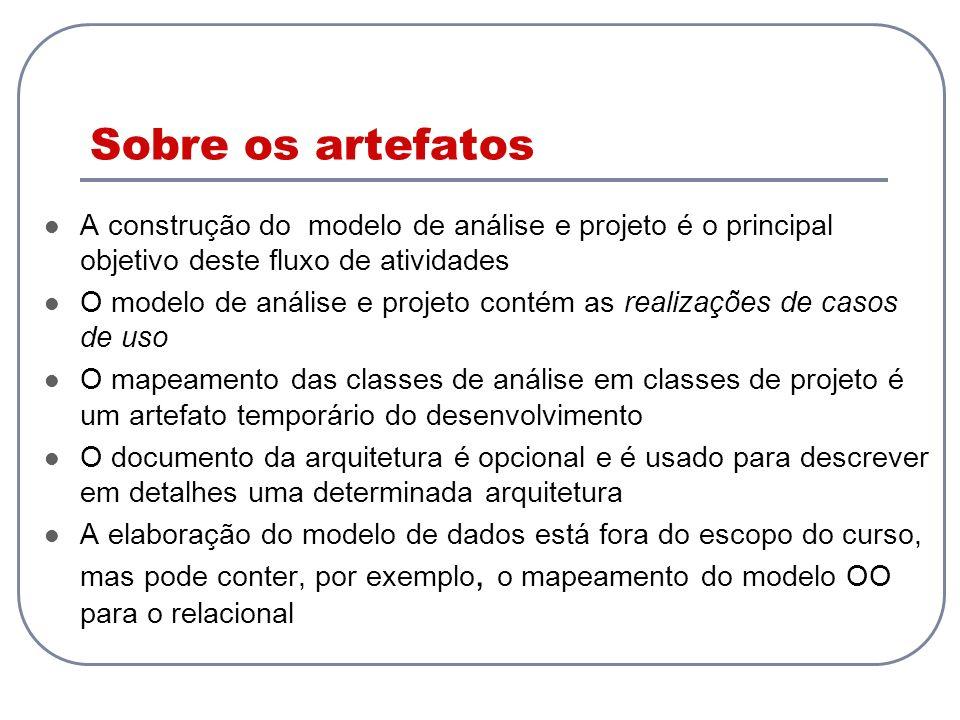 Sobre os artefatos A construção do modelo de análise e projeto é o principal objetivo deste fluxo de atividades O modelo de análise e projeto contém a