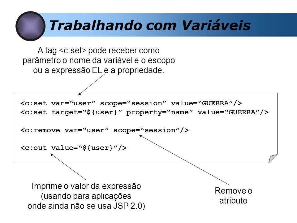 Trabalhando com Variáveis A tag pode receber como parâmetro o nome da variável e o escopo ou a expressão EL e a propriedade.